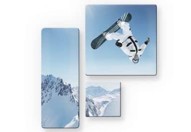 Glasbild Snowboarder (3-teilig)