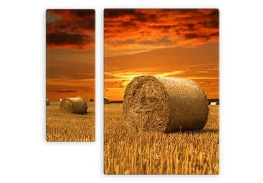 Straw Bales Glass art (2 parts)