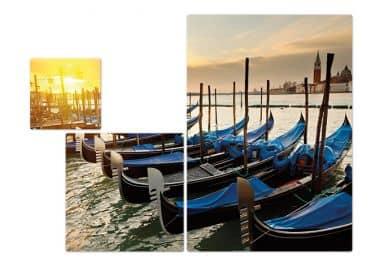 Glasbild Venezianische Gondeln (3-teilig)