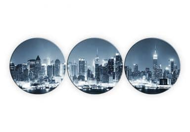 New York at Night 1 (3 parts) - Round Glass art