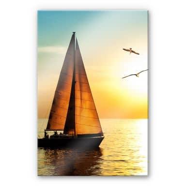 XXL Wanddecoratie Acrylglas Zeilboot bij Zonsondergang