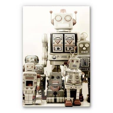 Tableau sur verre acrylique Réunion de robots