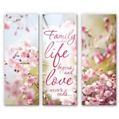 Acrylic glass Family is where Life begins (3-piece)