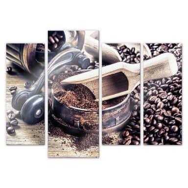 Acrylglasbild Kaffeeduft (4-teilig)