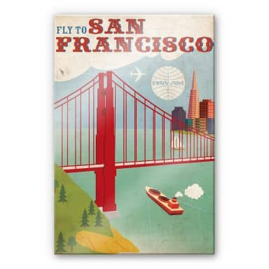 Acrylglasbild PAN AM - Fly to San Francisco