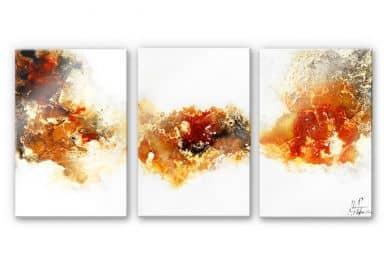 Acrylglasbild Fedrau - Flüssiges Gold 04 (3-teilig)