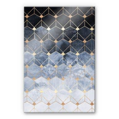 Acrylic Print Fredriksson Hexagons - Blue & Gold