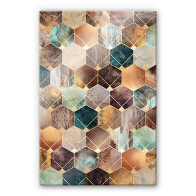 Acrylic Print Fredriksson - Gold and Copper Hexagons