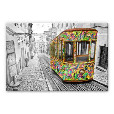 Acrylglasbild Ben Heine - Tram in Lissabon