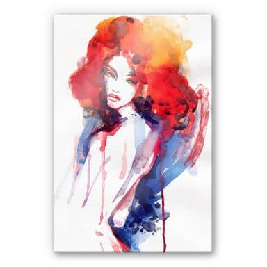 Acrylic glass The woman with the bright red hair