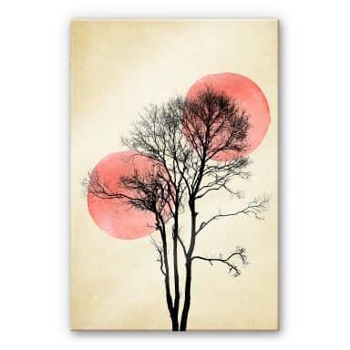 Acrylglasbild Kubistika - Sonne und Mond hinter dem Baum