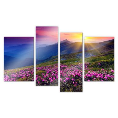 Acrylic glass Sunset in the Mountains (4-piece)