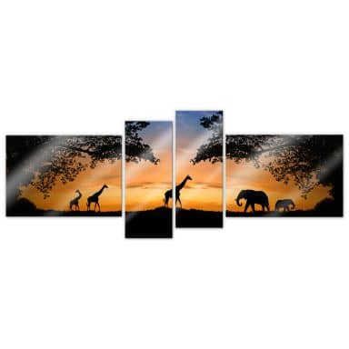 Acrylic glass African Sunset (4-parts)