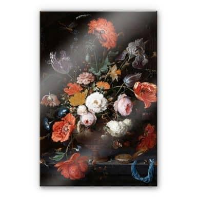 Acrylglasbild Mignon - Stillleben mit Blumen und einer Uhr