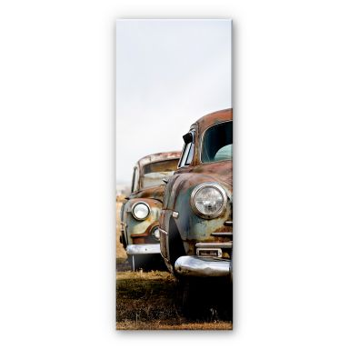 Acrylglasbild Old rusted Cars - Panorama