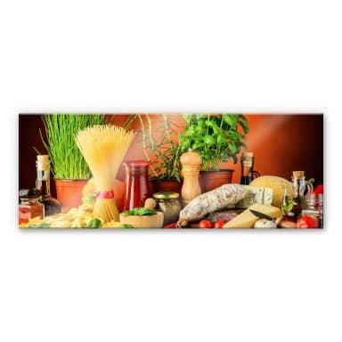 Acrylglasbild Italienisch Kochen - Panorama