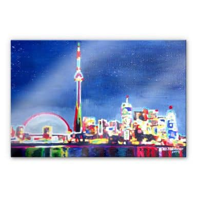 Acrylglasbild Bleichner - Toronto im Neonschimmer