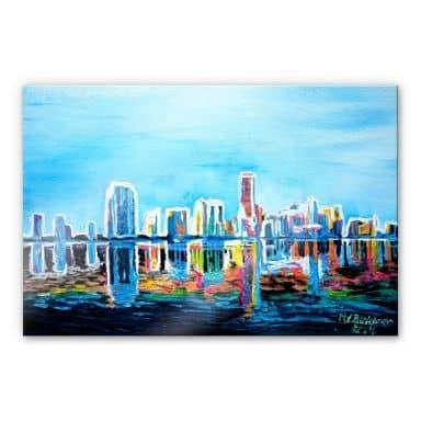 Acrylglasbild Bleichner - Miami im Neonschimmer