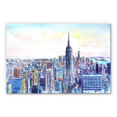 Acrylglasbild Bleichner - Manhattan Skyline - Aqua