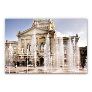 Acrylglasbild Wasserspiel vor Schweizer Parlamentsgebäude