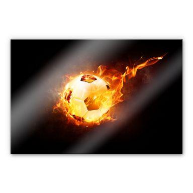 Acrylglasbild Fußball in Flammen