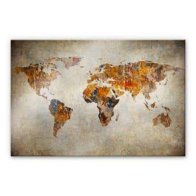 Acrylic Print World Map Shabby Chic
