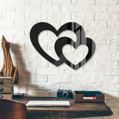 Décoration en verre acrylique - Deux cœurs