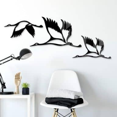 Acryldeko Kraniche - Vogelschwarm 02