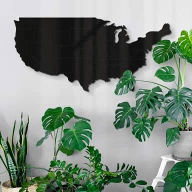 Décoration en verre acryliqe Carte des USA avec frontières entre les Etats