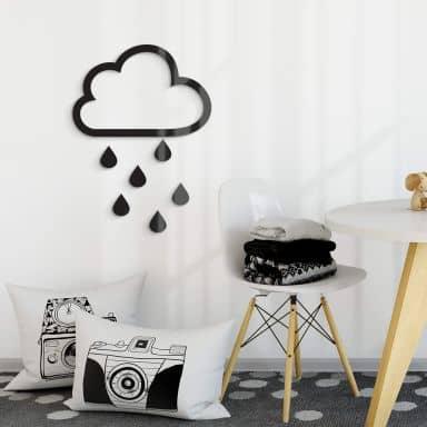 Acryldeko Wolke mit Tropfen (7-teilig)