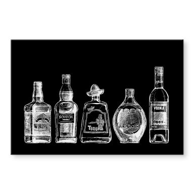 Acrylglasbild 5 Flaschen voll Spaß - schwarz