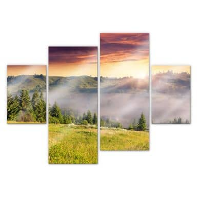 Acrylic glass Mountain Valley in Fog (4-parts)