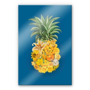 Acrylglasbild Feldmann - Pineapple Blue Floral