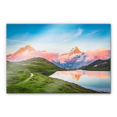 Tableau en verre acrylique Huber - Lac de Bachalp