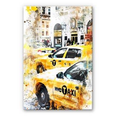 Acrylglasbild Hugonnard - Watercolour: New York Cabs
