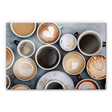 Acrylglasbild Kaffee Variationen