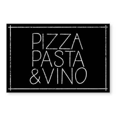 Acrylglasbild Pizza Pasta & Vino schwarz