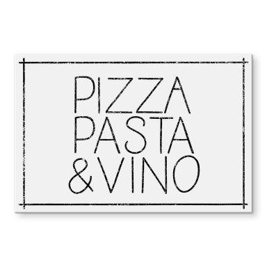 Acrylglasbild Pizza Pasta & Vino weiß