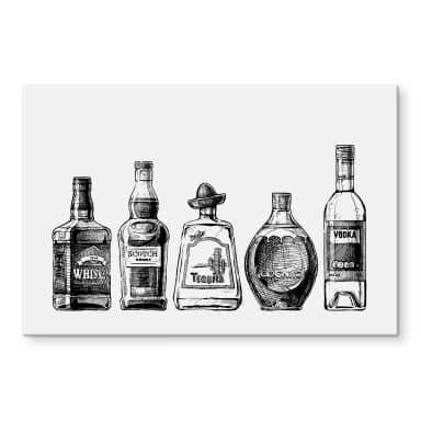 Acrylglasbild 5 Flaschen voll Spaß