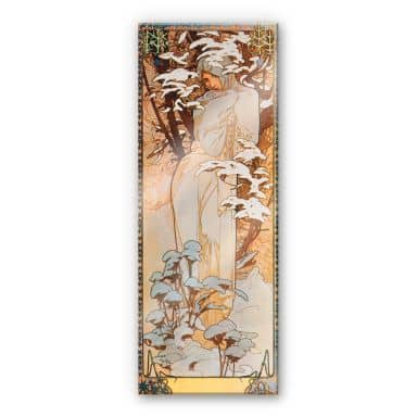 Acrylic Print Mucha - Seasons: Winter 1900