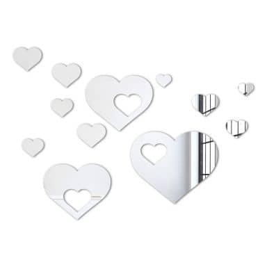 Wandspiegel Herzen-Set (12-teilig)