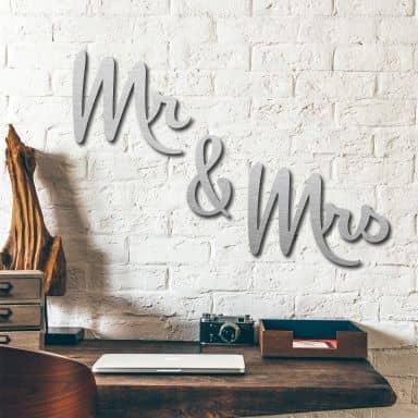 Deco letters Alu-Dibond zilver - Mr & Mrs