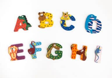 Lettere per bambini Animali colorati