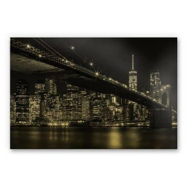 Alu-Dibond-Goldeffekt - New York bei Nacht