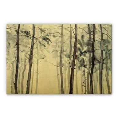 Alu-Dibond gold effect - Watercolour Forest
