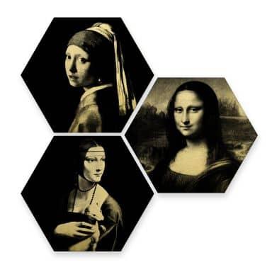 Hexagon alu-dibond goud effect - Famous Ladies