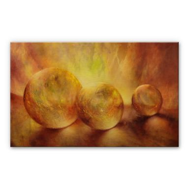 Alu-Dibond mit Goldeffekt Schmucker - Goldene Murmeln