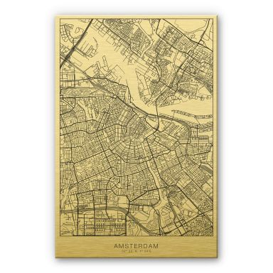 Alu-Dibond goud effect - Plattegrond Amsterdam