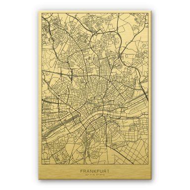 Alu-Dibond mit Goldeffekt Stadtplan Frankfurt