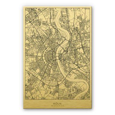 Alu-Dibond mit Goldeffekt Stadtplan Köln